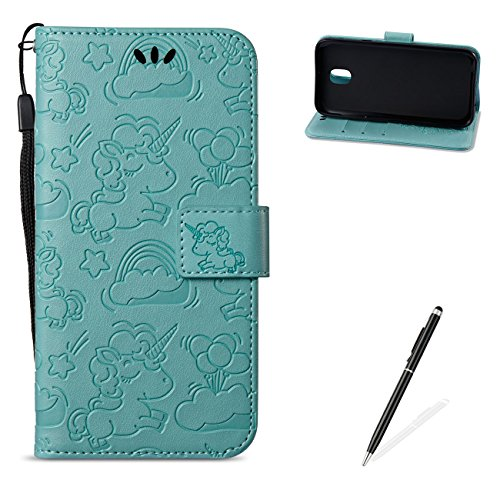 MAGQI For Samasung Galaxy J5 2017/J530 PU Leather Wallet Case with [Free 2 in 1 Stylus],Elegant Premium Flip Book Style Stand Function Shell and Unicorn Pattern Design Cover-Green