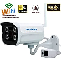 Twinbuys Brick Qd900 Wifi HD 1080P IP66 Waterproof Outdoor Wireless Network IP Bullet Surveillance Camera 3.6mm Lens 15m Ir Range Day Night Vision