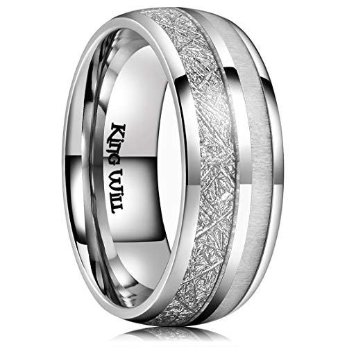 (King Will Meteor Unisex 8mm Titanium Ring Imitate Meteorite Wedding Band with Antler Inlay Comfort Fit(10))
