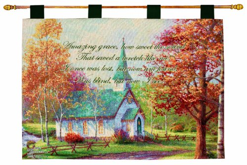 Manual Inspirational Collection Wall Hanging and Finial Rod, Chapel in The Woods with Verse by Thomas Kinkade, 36 X 26-Inch (Rustic Furniture Carolina)