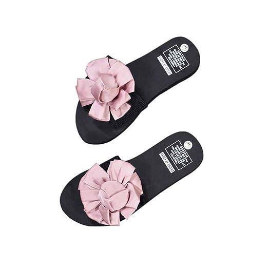 34b53c99e41b Women s Slides Flip Flops Open Toe Flower Slippers Platform Flip Flops for  Summer Beach (Pink