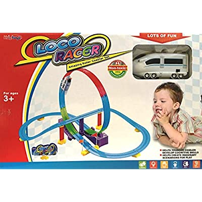 Haktoys LOCO Track Racer Roller Coaster Building Entertaining Playset, Locomotive Train w/ Headlight, Safe and Durable, Gift Fun Toy for Toddlers and Kids: Toys & Games