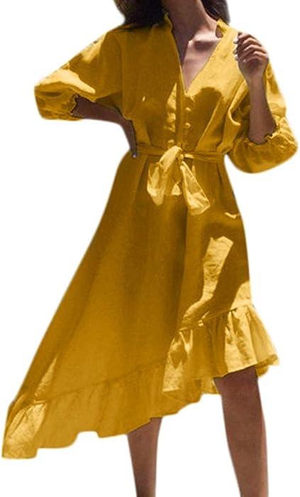 Vestidos Verano Mujer,Lunule Vestido de Playa de Manga Linterna de Mujer Botón Vestido Irregular del Vendaje Vestido Fiesta Casual para Mujer