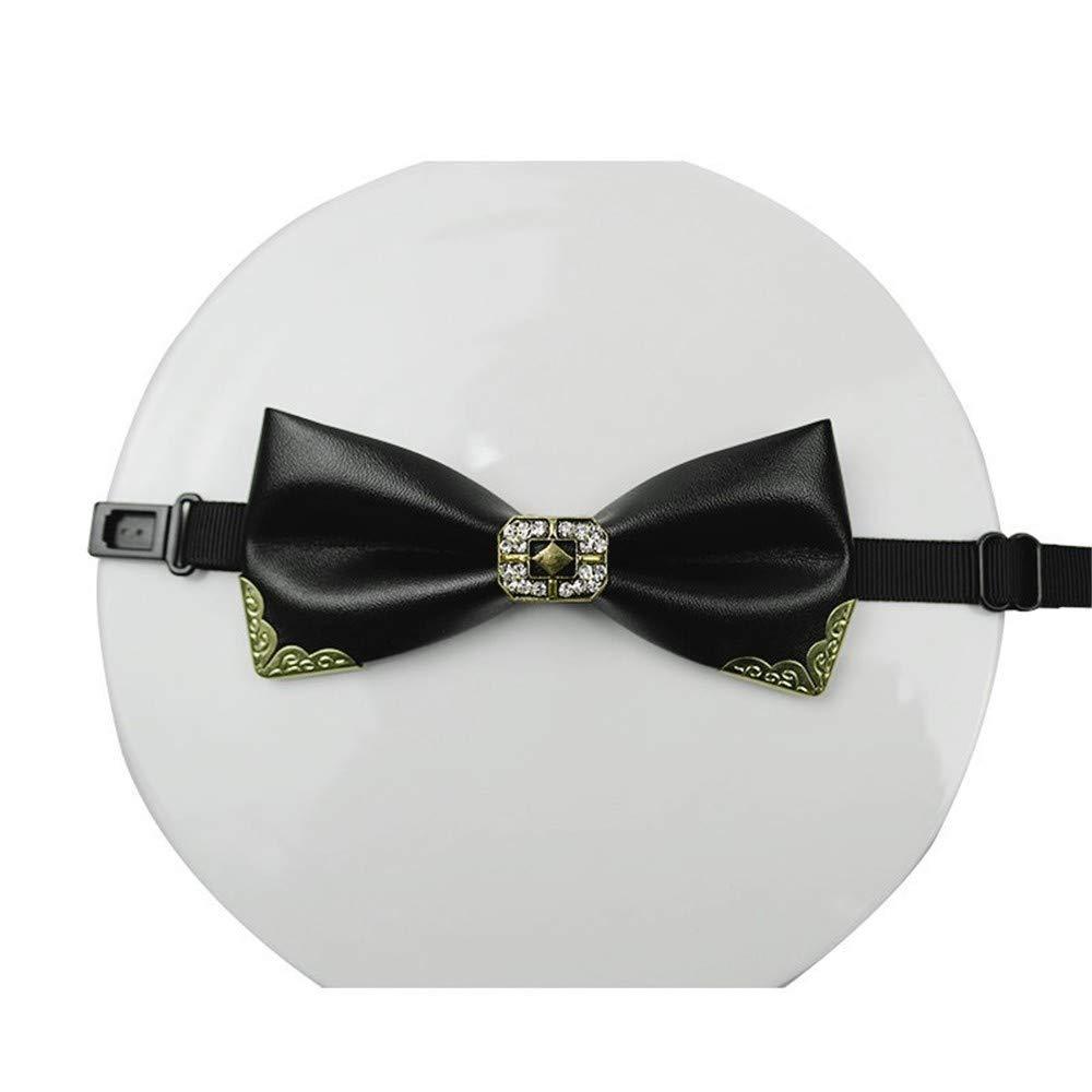 LILILICX Pajaritas Collar de Diamantes para Hombre de Cuero Negro ...