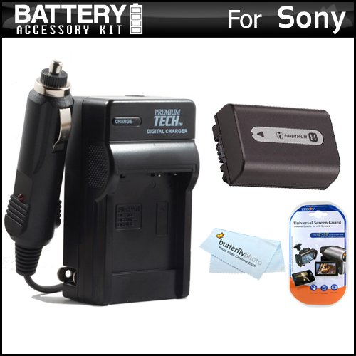 Battery and Charger Kit for Sony Cyber-Shot DSC-HX100V, DSC-HX200V Digital Camera Includes Extended (1000mAh) Replacement NP-FH50 Battery + Ac/Dc Rapid Travel Charger + LCD Screen Protectors + More