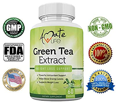 Amate Life Green Tea Extract 500mg Supplement - Metabolism Booster with EGCG - Powerful Antioxidants, Polyphenols & Caffeine Helps Boost Energy Level for Women & Men-60 Capsules