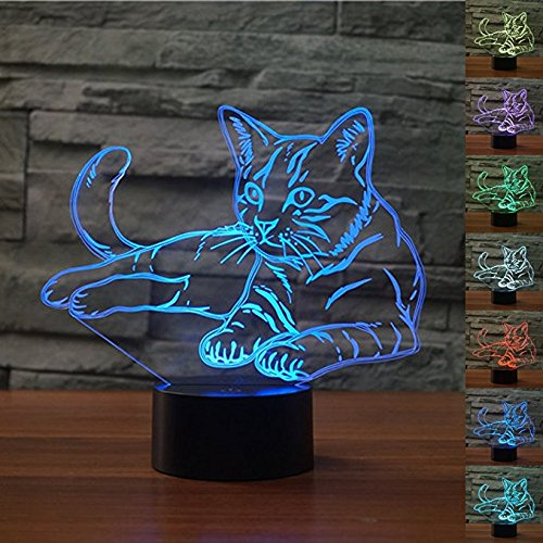 - WMH Lying Down Cosy Cat 3D Illusion Platform LED Lamp Night Lighting USB Touch Light Children Cute Night Bedroom Light Leisure 7 Colorful Gifts