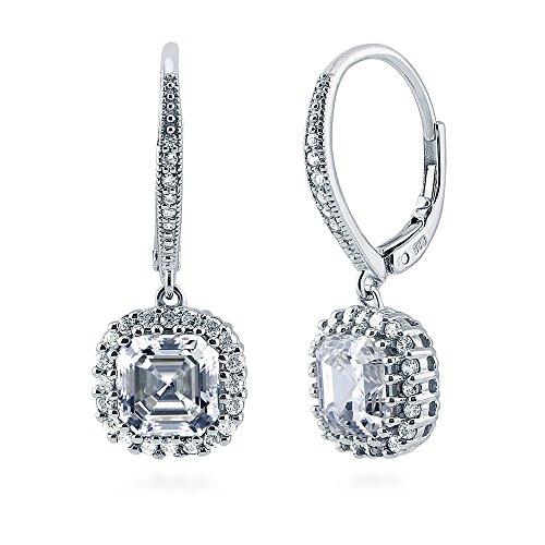 Tw Asscher Cut Earrings - BERRICLE Rhodium Plated Sterling Silver Asscher Cut Cubic Zirconia CZ Halo Leverback Anniversary Wedding Dangle Drop Earrings