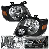 Fits Ford Explorer Sport Trac Front Driving Black Housing Amber Reflector Headlight Head Lamp Upgrade Replacement