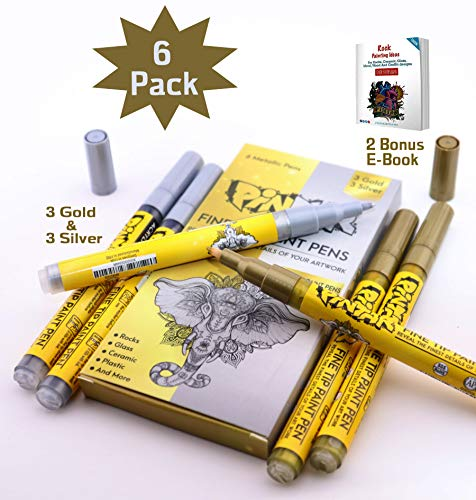 PINTAR - Metallic Paint pens for Rock Painting, Stone, Metal, Ceramic, Porcelain, Glass, Wood, Canvas - 3 Silver And 3 Gold (6 Pack) Water - Based Fine Tip Paint Pens.