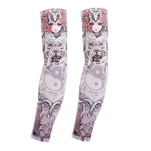 Baby Johnny Cash Costume (Actual Tattoo Arm Sleeve Men and Women Protection Breathable Outdoor Basketball Sports Wrist Sunscreen Keep Warm Fishing Gloves)