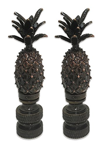 Royal Designs Vintage Pineapple Lamp Finial for Lamp Shade- Antique Brass Set of 2 Antique Brass Pineapple Finial