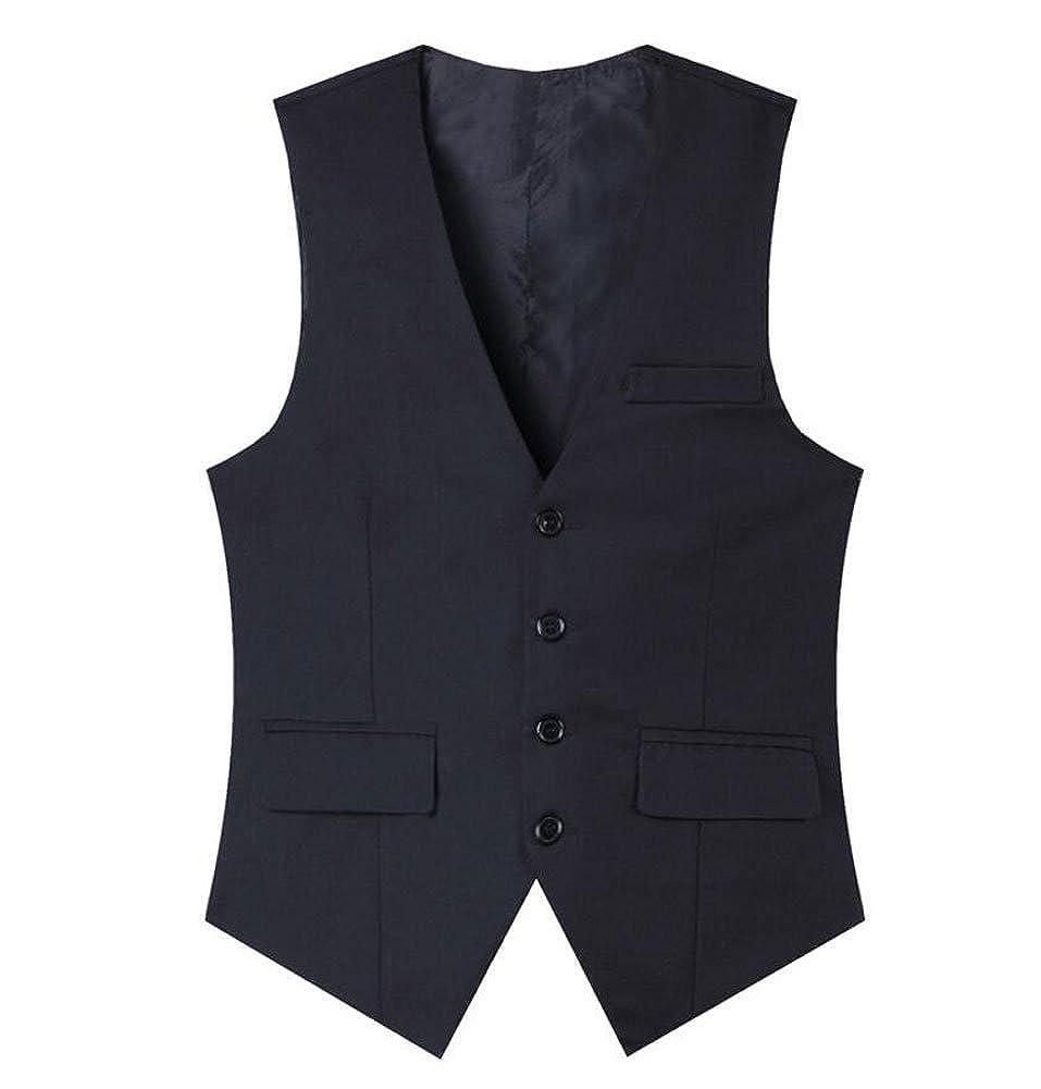Classic Fit Grey Men's Waistcoat 4 Buttons V-Neck Suits Vest Business Suit Dress
