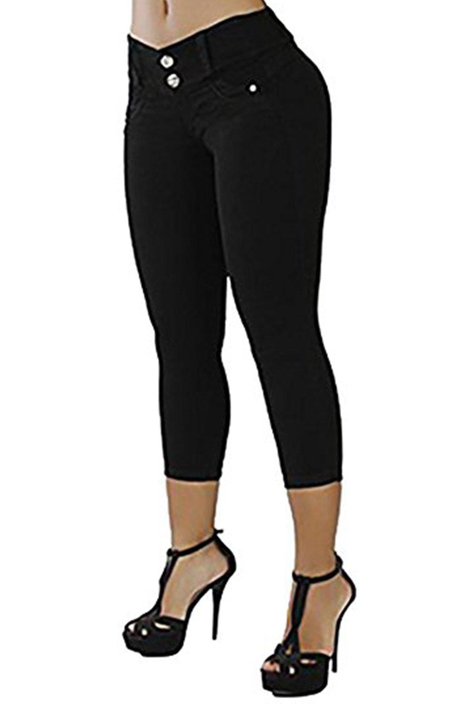 CNJFJ Womens Skinny Capri Jeans Trendy Brazilian-Style Butt Lift Stretchy Pencil Denim Pants