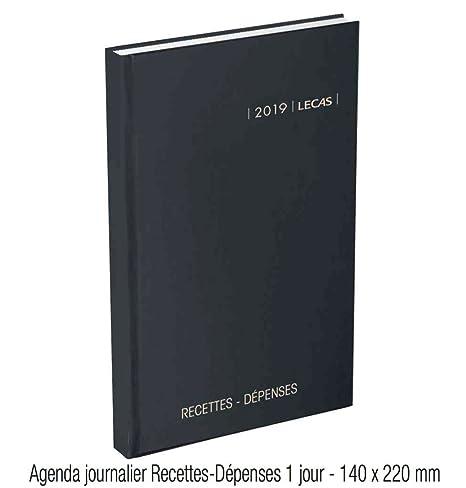 Lecas  Agenda Recettes/Dépenses 1 Page par Jour 14 x 22 cm Année 2019 Noir