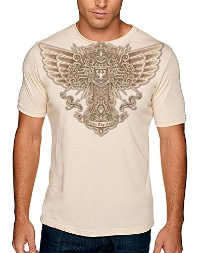 Hellfire Graphics Men's Protect Thy Family Celtic Cross with Wings T-Shirt XX-Large - Wings Thy