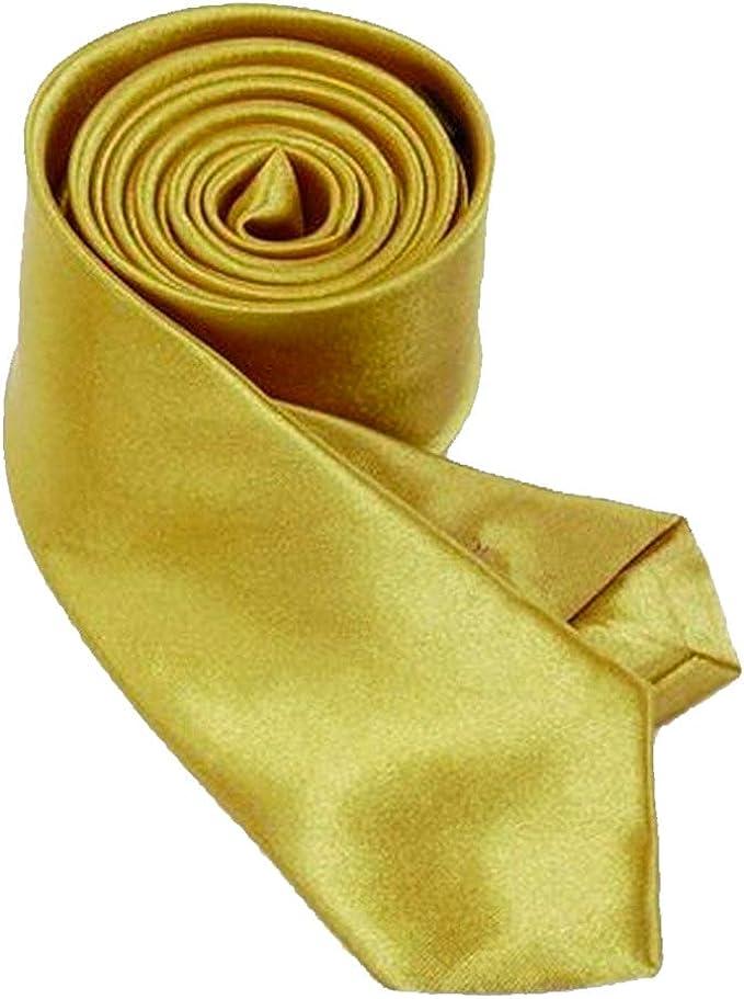 aus Polyester gl/änzt Wie Seide Uni,Nicht Gestreift Auch f/ür Kinder//Jungen Rusty Bob Krawatte Schmal//D/ünn 3cm-5cm f/ür Herren Gold