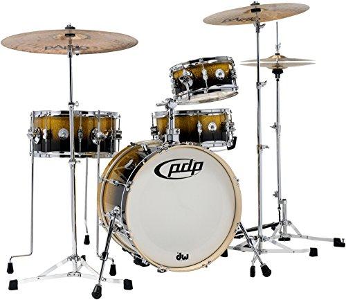 PDP Daru Jones New Yorker 4-piece Drum Set - Gold to Black Sparkle Fade (Case Tom Rack)