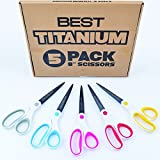 "Best Titanium Scissors - 5 Pack - 8"" Blade - (STRONG TITANIUM STEEL) - Comfortable Soft Handles in a Variety of Colors - Multi-Purpose Shears - Perfect for Cutting Paper, Fabric, Photos, & More"