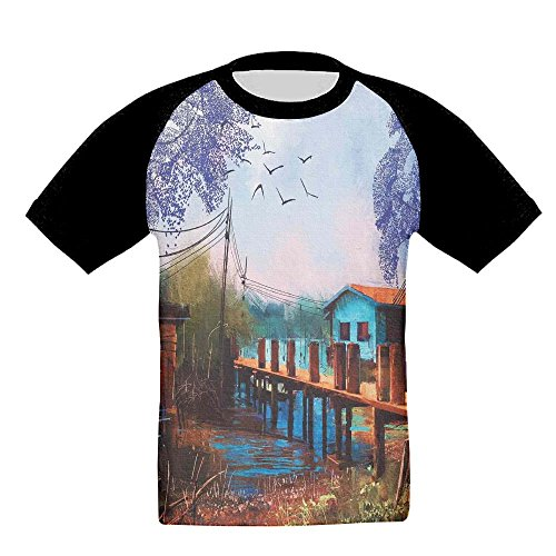 KissKid Vintage Hand Drawn Artisan Picture of Fishing Village with Old Bridge and Gulls Baby 3D Short Sleeve Raglan Tshirt 4 Toddler