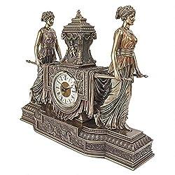 Design Toscano Versailles Maidens Mantel Clock Statue, 14 Inch, Polyresin, Bronze Finish