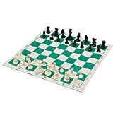 NBRTT Plastic Tournament Chess Game Foldable Chessboard Camping Travel Amusement Gift Come with Long Tournament Chess Bag 34.5x34.5cm for Children Over 6 Years and Adults