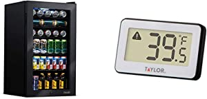 NewAir AB-1200B Beverage Refrigerator, 126 Can, Black, 126 Can & Taylor Precision Products Digital Refrigerator/Freezer Thermometer