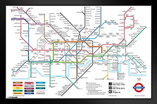 Pyramid America London Underground Map Framed Poster 20x14 - London Underground Map Of