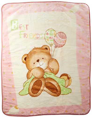 Korean Mink Baby Size Blanket - Premium - Teddy Bear - Pink