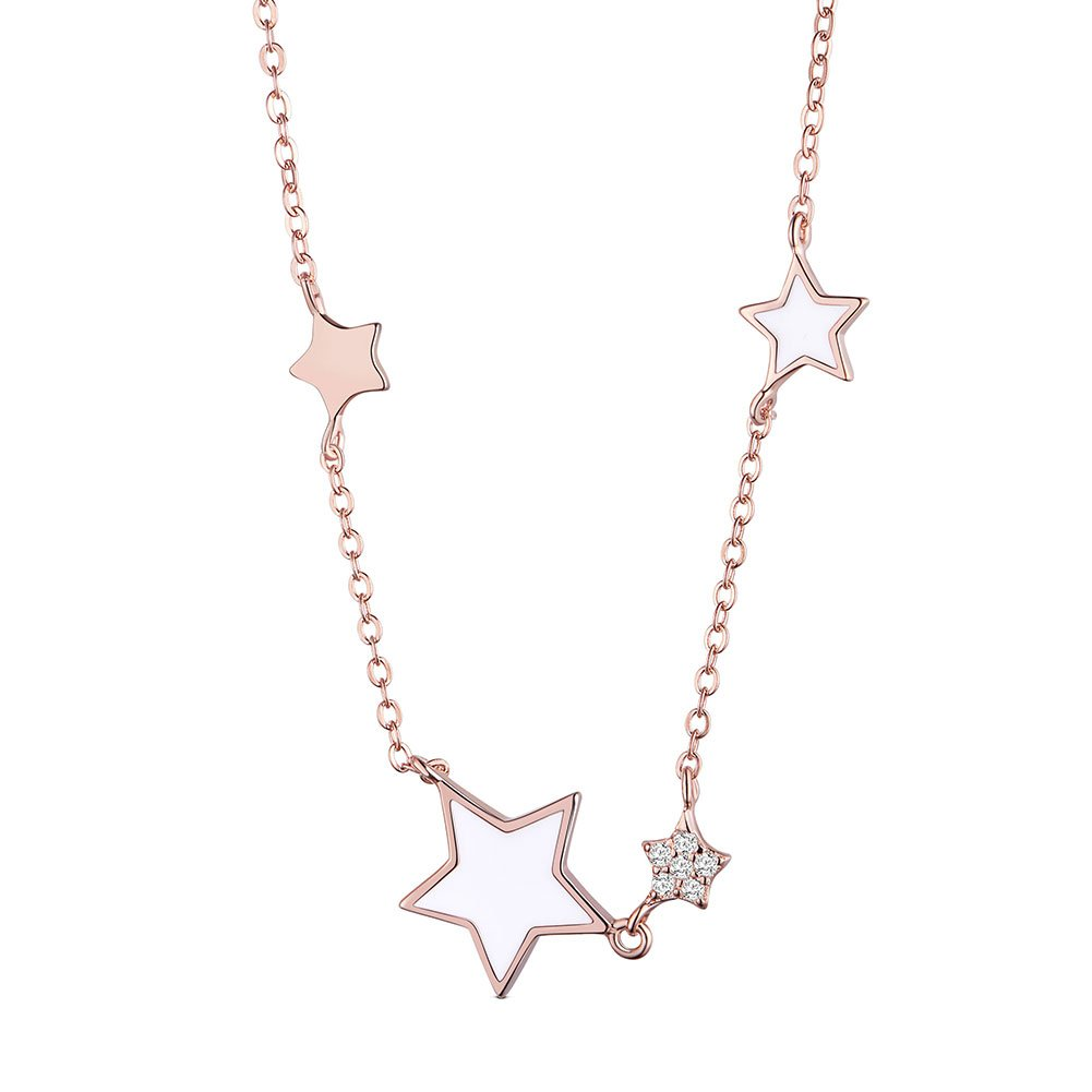 SHEGRACE Rose Gold Star Pendant Necklace, 925 Sterling Silver Necklace for Women with Enamel Stars, Holiday Gift