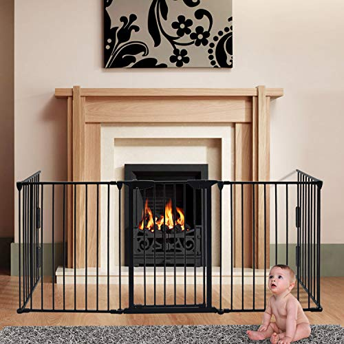 """charaHOME 121 Inch Baby Gate Fireplace Fence Baby Safety Gate Adjustable 5-Panel Folding Metal Play Yard for Baby/Pet/Dog Christmas Tree Fence Pet Gates for doorways with Walk Through Door 30"""""""