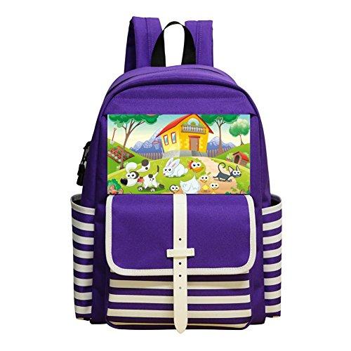 01g Laptop - Small School Backpack For Kindergarten Unisex Kids,Print Farm Cartoon,Purple