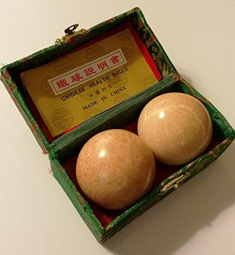 Reddish Beige Marble Stone Chinese Healthy Exercise Massage Baoding Balls
