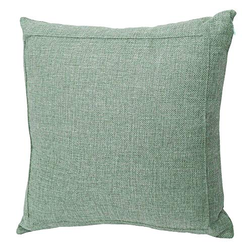 Jepeak Burlap Linen Throw Pillow Cover Cushion Case, Farmhouse Modern Decorative Solid Square Thickened Pillow Case for Sofa Couch (18 x 18 inches, Sage Green) (Sage Green Decorative Pillows)