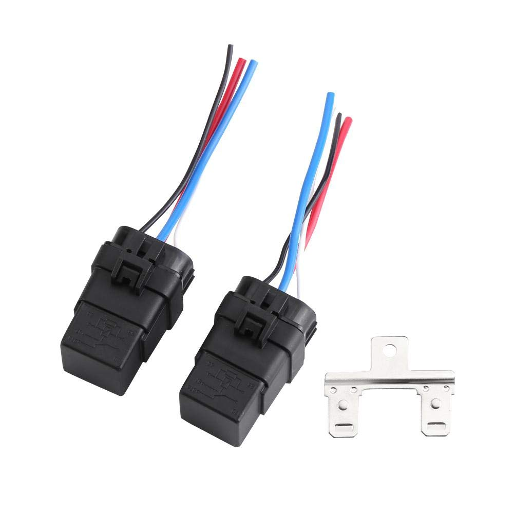 DC 12V 40A Auto Vehicle 4-Pin Waterproof Sealed Integrated Relay Socket Kit 4 Wire Walfront