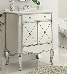 "30"" All Mirrored Adelisa bathroom sink vanity - Model MF3-5106-SC (Silver)"