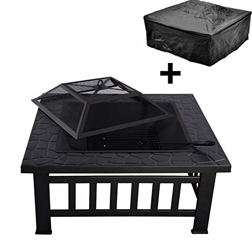 """Magshion 32"""" Square Fire Pit Fire Bowl BBQ Burning Grill ..."""