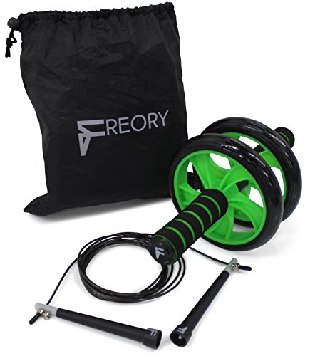 Freory Ab Roller Wheel & Jump Rope. Core Training and Fitness Equipment to Sculpt Abdominals, Tone Arms, Strengthen Back and Shoulders.