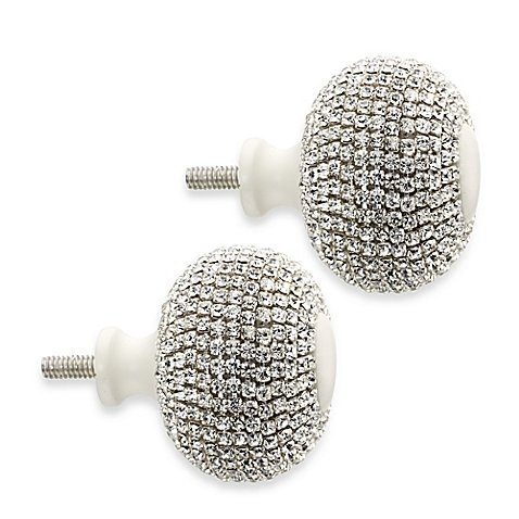 Cambria My Room Twinkle Finial in Silver and Satin White (Set of 2)