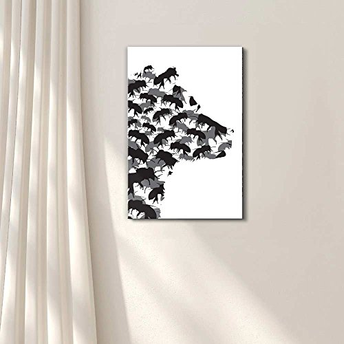 Honey Bear and Bees Silhouette Black and White Exclusive Artwork Quirky Fun Design