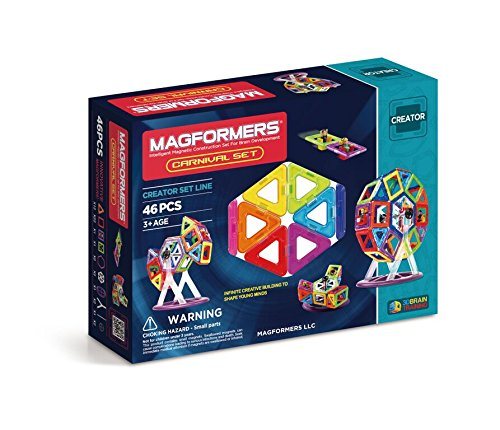 Magformers 63074 Creator Carnival Set (46-pieces) Deluxe Building Set. Magnetic Building Blocks, Educational Magnetic Tiles, Magnetic Building STEM Toy Set