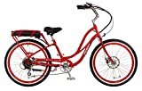 """Pedego Comfort Cruiser 26"""" Step Thru Red with White Wall Tires 36V 15Ah"""