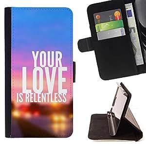 BullDog Case - FOR/Samsung Galaxy Note 3 III / - / YOUR LOVE IS RELENTLESS /- Monedero de cuero de la PU Llevar cubierta de la caja con el ID Credit Card Slots Flip funda de cuer