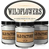 Scented Candles - Wildflowers - Set of 3: Lily of the Valley, Lilac, and Plumeria - 3 x 4-Ounce Soy Candles - Perfect Valentines Day Gift for Her
