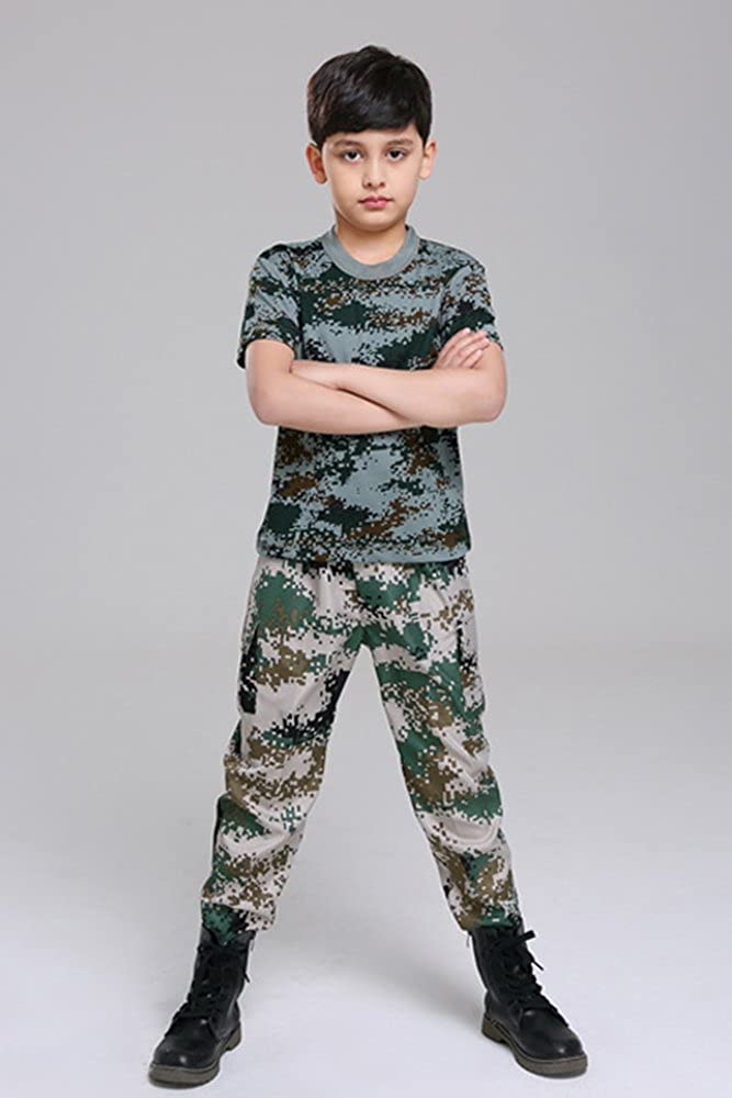 e7ee80ca BOZEVON Adult Child Boy Girl Man Woman Camouflage Costume, Summer Camp  Military Training Clothing, Tops + Pants: Amazon.co.uk: Clothing