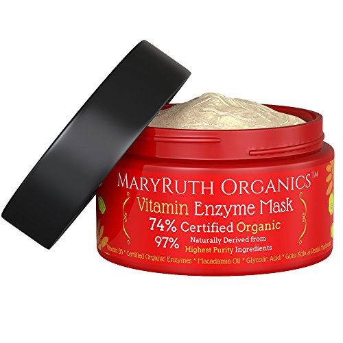 ORGANIC VITAMIN ENZYME MASK by MaryRuth's-74% Organic Ingredients, Vitamins & Glycolic Acid gently remove dead skin cells to allow new skin tissue to emerge 4oz For Men & Women ()