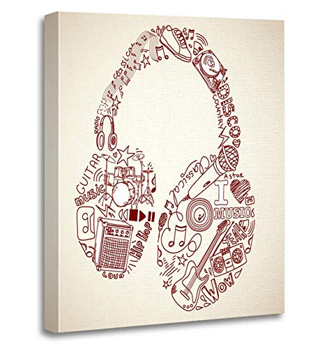 Emvency Painting Canvas Print Artwork Decorative Print Speaker Music Doodles in The Shape of Earphones Radio Vinyl Guitar Pop Song Wooden Frame 16x20 inches Wall Art for Home Decor -