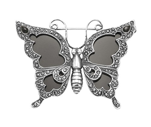 Sterling Silver Butterfly Pin w/Marcasite & Framed Simulated Black Onyx Wings