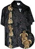 Pacific Legend Hawaiian Tiki Panel Aloha Shirt Black 2XL 444-3757,XX-Large
