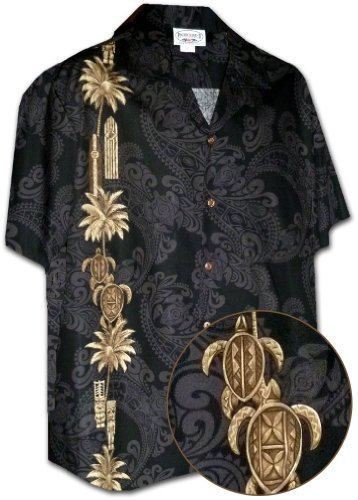 Pacific Legend Hawaiian Tiki Panel Aloha Shirt Black XL 444-3757 (Tiki Aloha Shirt)